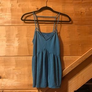 Teal Tank Top with Rope Detail and peplum waist